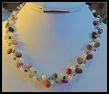 Tourmaline Gemstones and Cultured Pearl Necklace, Multi-Color with Rhinestones