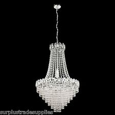 SEARCHLIGHT 1711-11CC QUALITY CHROME CEILING CHANDELIER CRYSTAL LIGHT LARGE BNIB