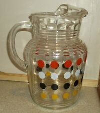 Vintage HTF clear glass water ice tea pitcher polka dots red white black yellow