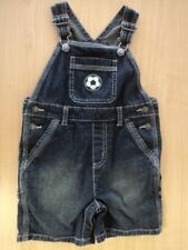 Vintage Boy's Size 2T Gymboree Summer Black Denim Shortalls Soccer Cute!
