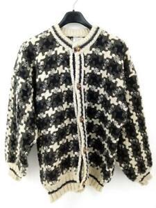 90s HANDMADE Cardigan Sweater 100% Wool Chunky Made in ECUADOR Unisex XL