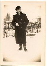 Homme manteau hiver béret neige - photo ancienne an. 1940