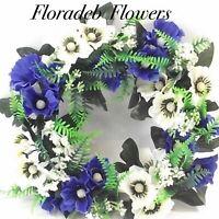 ARTIFICIAL SILK FLOWERS.....30cm ANEMONE & FERN WREATH IN IVORY & BLUE