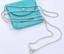 """Tiffany & Co Plata de Ley Cuenta Enorme Cadena XL Collar 34.5"""" con / Bolsa Chapa"""