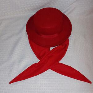 Bollman Hat Co. Vintage Red Hat Scarf 100% Wool Doeskin Felt