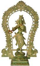 "JAI GOD Krishna Fluting Arch Statue 18.4"" Vintage Green Brass Hindu Figure 6.3KG"
