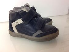 GEOX Boys Boots In Blue & Grey Leather. Velcro. VGC. Size UK 9