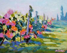 "Mona Vivar original impressionist italy tuscany landscape  art painting 11""x 14"""