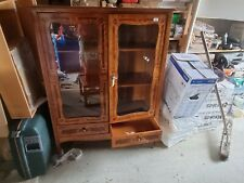Vintage side Cupboard Display Cabinet with glass 2 Shelves