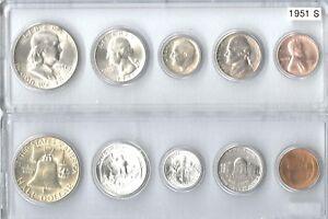 1951-S US Silver mint set in Whitman plastic holder