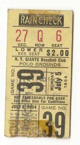 Willie Mays Career HR #50 ticket stub Giants Phillies July 5, 1954 w/ scorecard