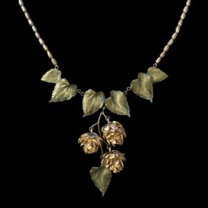Michael Michaud Hops Flower and Pearl Dangle Necklace