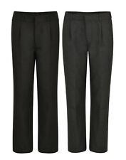 BOYS SCHOOL TROUSERS PLEAT FRONT EX UK STORE 3-16 YEARS BLACK CHARCOAL NEW