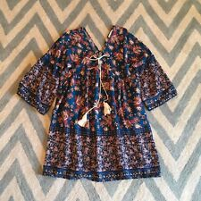 S New ANTHROPOLOGIE Womens Blue Fall Floral Tassel Detail Boho Tunic Dress SMALL