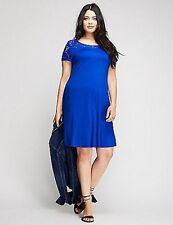 New Lane Bryant $70 Blue Lace Illusion Knit Swing Dress Plus Size 18/20 2X