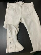 "18th Century Man's White Cotton Gaitered Trousers - Rev War Colonial, 40""+ Waist"