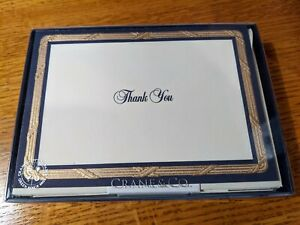 Crane & Co  Navy Thank you cards, lined envelopes - NEW - NIB