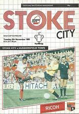 Football Programme - Stoke City v Huddersfield Town - League Cup - 8/11/1983