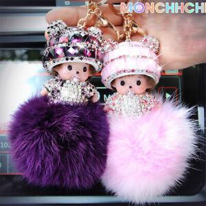 MONCHICHI Schlüsselanhänger Taschenanhänger Haarball Strass Auto Anhänger