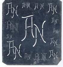 Große Monogramm Schablone AN  Jugendstil  Weißblech 16 x 18 cm Weissstickerei