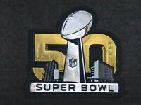 OFFICIAL PLASTIC Denver Broncos vs Panthers Super Bowl 50 Flex Chrome Patch