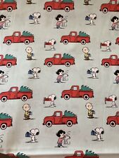 SNOOPY Peanuts HOLIDAY RED TRUCK 100% Cotton Fabric by the Half Yard