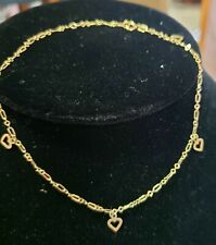 Hearts Anklet Ankle Bracelet 10 Kt. Gold Rci Dangling