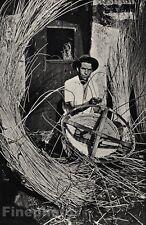 1955/66 Vintage 11x14 BASKET WEAVER MADEIRA Basketry Craft ALVIN LANGDON COBURN