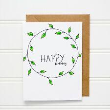 Happy Birthday   Greeting Card   Handmade   Botanical   Doodled  Stationary