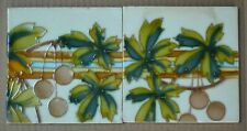 ANTIQUE TUBE LINED MAJOLICA 2 TILES - HEMIXEN BELGIUM C1900