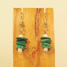 "1"" Green Color Mother of Pearl Stacked Shell Chips Handmade Drop Dangle Earring"