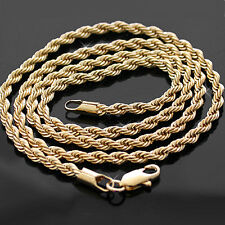 """3mm ROPE Link GOLD GL 22"""" Solid CHAIN Necklace 