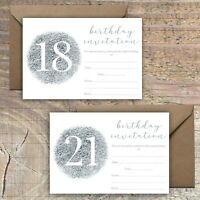 BIRTHDAY INVITATIONS BLANK SILVER FOIL PRINT EFFECT 18TH, 21st PACKS OF 10