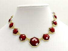 Amrita Singh Ruby Red Remsey Hexagon Necklace Goldtone New! NWT
