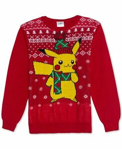 Pokemon Big Kid Boys Pikachu Holiday Sweater Tango Red L