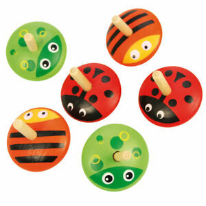 Bigjigs Toys Animal Spinning Tops (Pack of 6)
