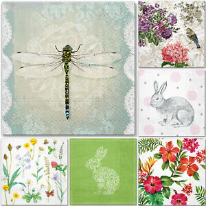5 Single Paper Table Napkins for Decoupage * BUNNY * DRAGONFLY * FLOWERS NATURE
