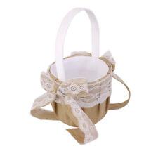 Wedding Party Hessian Burlap Lace Bowknot Decor Vintage Flower Girl Basket