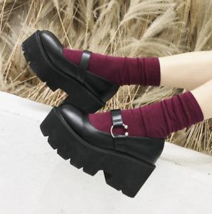 Womens Retro Round Toe Brogue Buckle Platform Wedge Heels Goth Punk Creeper Shoe