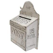 "MAILBOX Distressed Vintage White Metal Embossed US MAIL POST BOX Mailbox 16""H"