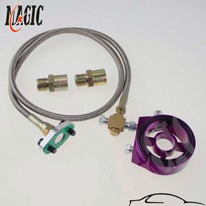 Oil Filter Sandwich Adapter Plate + Line For SR20DET KA24DE Purple