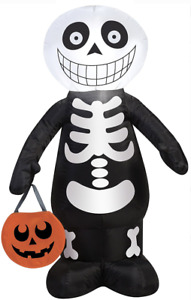 Halloween Inflatable Trick or Treat Skeleton LED 3.5 ft Gemmy Airblown Greeter