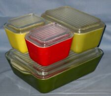 Vtg PYREX Refrigerator Dish Set Green Verde Yellow Red Lot 8 pieces!