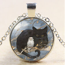 Photo Cabochon Glass Necklace Silver/Bronze/Black pendant(black cat and owl)