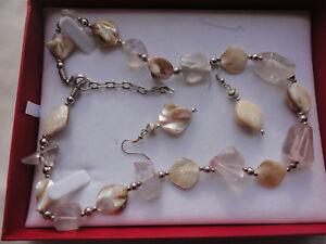 Demi parure 41 gram abalone MOP + resin silver-plated necklace pierced earrings