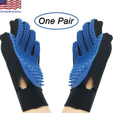 UPGRADED PAIR Pet Grooming Gloves Brush Dog Cat Fur Hair Removal Mitt Massage