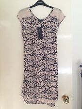 French Connection Blue And White Capri Blush Lace Utility Dress 8