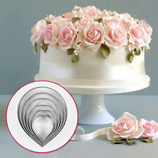 6x Rose Petal Cookie Icing Cutter Mold Cake Decorating Pastry Mould Sugarcraft#