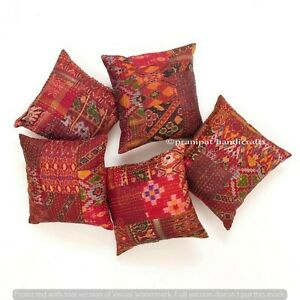 Set of 5 Red Silk Patola Patchwork Cushion Cover Home Decor Boho Pillow Cases