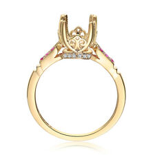 14K Yellow Gold Engagement Round 7mm Semi Mount Real Diamonds Rubies Halo Ring